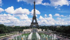 The Eiffel tower and fountains of the Trocadero