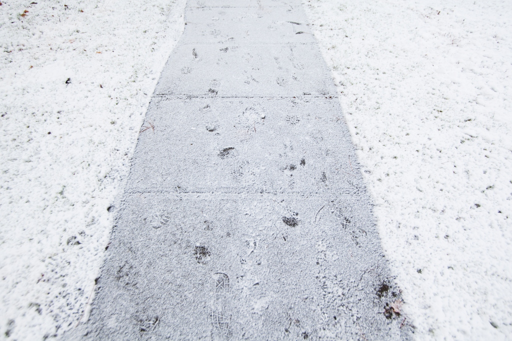 Sidewalk covered in snow, Spokane